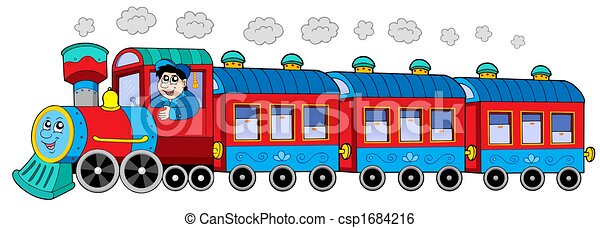 Steam Locomotive With Engine Driver And Wagons Isolated Illustration