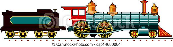 steam locomotive with wagon - csp14680064
