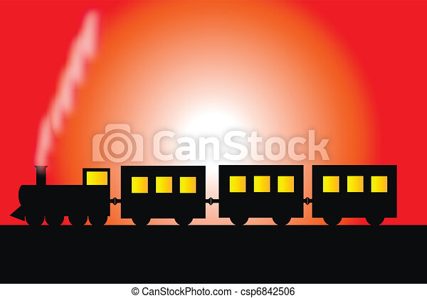 Steam locomotive with wagons - csp6842506