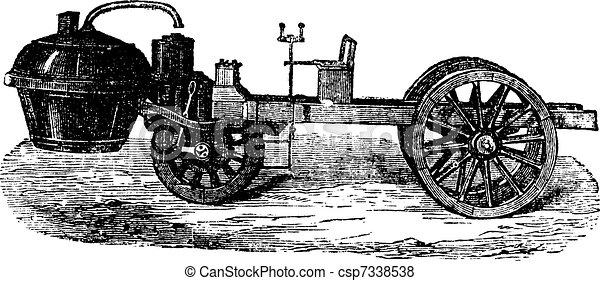 Steam-powered Tricycle, vintage engraving - csp7338538