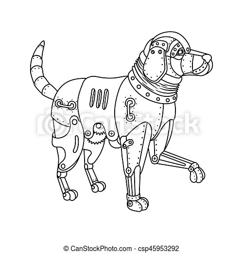 Steam punk retriever dog coloring book vector. Steam punk style ...