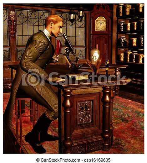 Steam Punk Scientist Victorian Style Detective Or