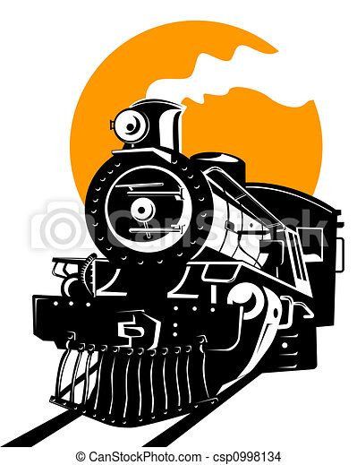 Steam Train Illustration On Rail Travel