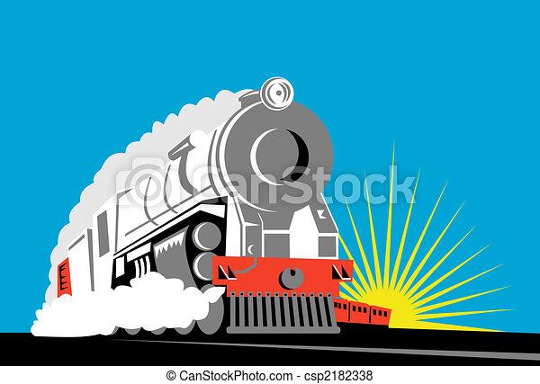 Steam train front on - csp2182338