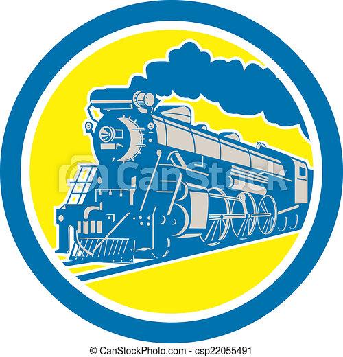 Steam Train Locomotive Circle Retro - csp22055491