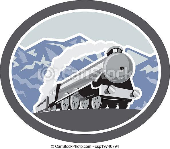Steam Train Locomotive Mountains Retro - csp19740794
