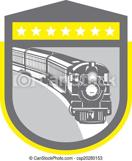 Steam Train Locomotive Retro Shield - csp20280153