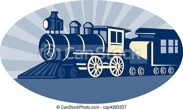 Steam train or locomotive side view - csp4293337