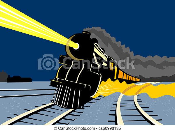 Steam train traveling  - csp0998135