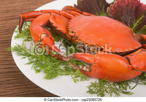 Steamed red crab on a plate - csp23085726