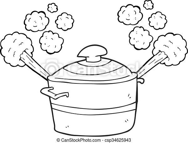 Steaming pot cuisine noir blanc dessin anim steaming - Dessin anime de cuisine ...