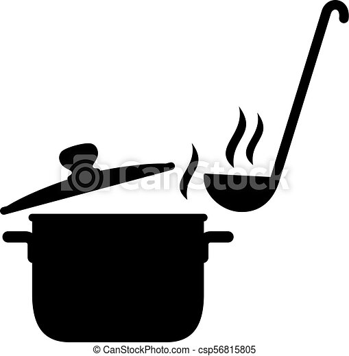 Steaming saucepan and a ladle - csp56815805