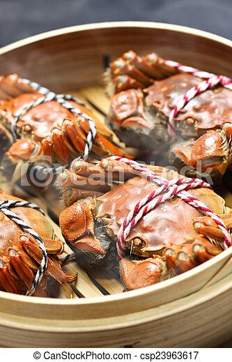 steaming shanghai hairy crabs - csp23963617