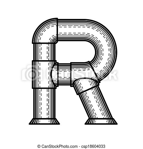Steampunk Font Pipe Letter R Made In The Style Of Engraving