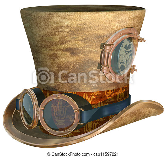 Steampunk hat and goggles. Isolated illustration of a ...