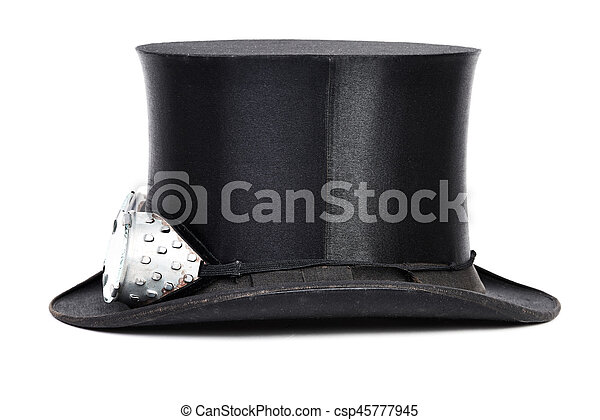 Steampunk hat. Black top hat with goggles isolated on white background. 5e975bfa0497