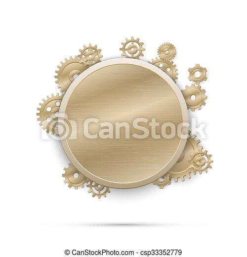 steampunk, illustratie, vector, gears., spandoek, ronde - csp33352779
