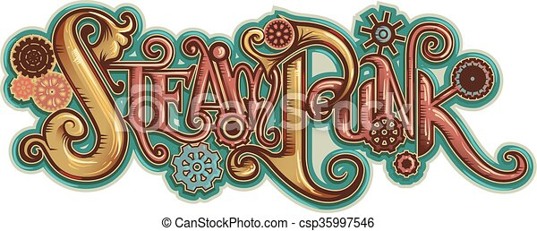 Steampunk Lettering - csp35997546