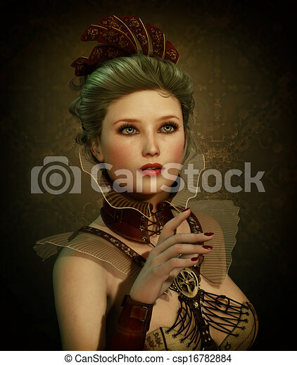 steampunk, menina, moda, cg, 3d - csp16782884