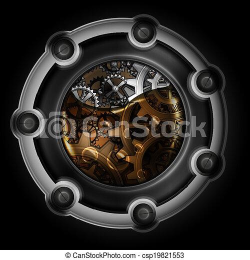 Mecanismo abstracto Steampunk. Engranajes en aceite de máquina. - csp19821553