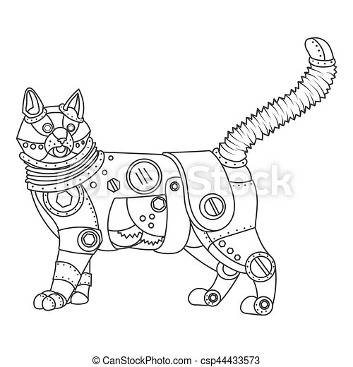 Steampunk Style Cat Coloring Book Vector