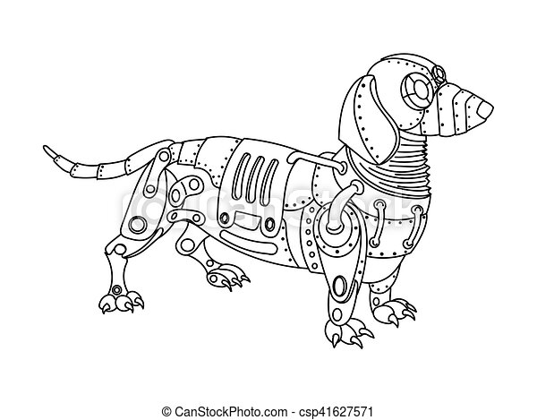 Steampunk style dachshund dog coloring book vector.... vectors ...