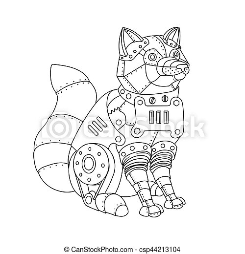 Steampunk style fox coloring book vector