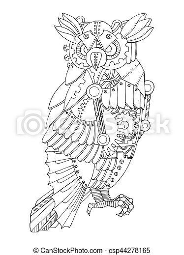 Steampunk style owl coloring book vector. Steampunk style... clip ...