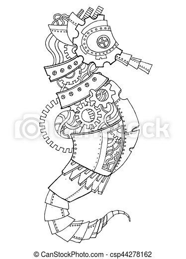 Steampunk style sea horse coloring book vector. Steampunk style sea ...