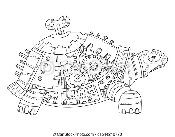 Steampunk style turtle coloring book vector. Steampunk style turtle ...