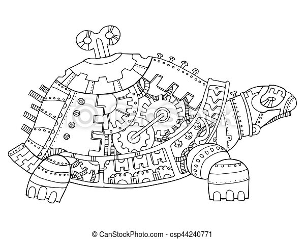 Steampunk Style Turtle Coloring Book Vector Steampunk Style Turtle