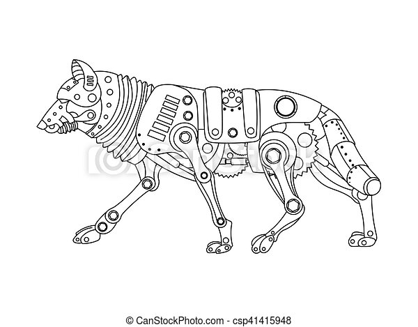 Steampunk style wolf coloring book vector. Steampunk style wolf ...