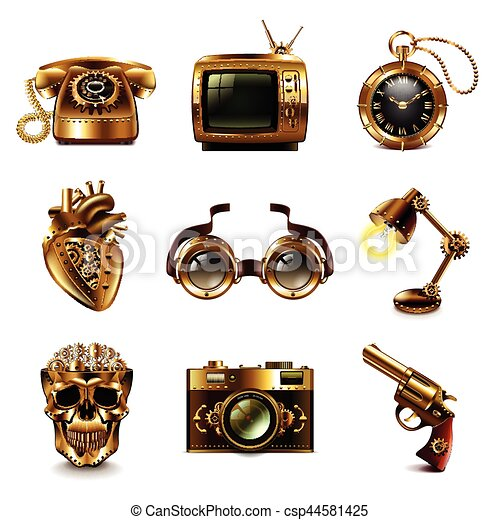steampunk, vettore, set, icone - csp44581425