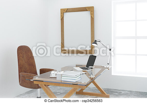 Steampunk wooden picture frame on white wall in loft room with modern furniture, mock up - csp34256563