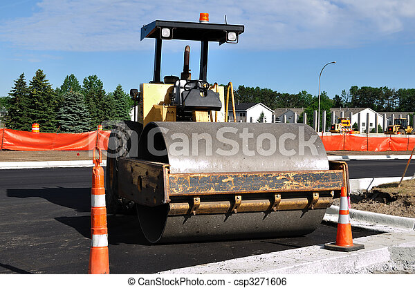 Steamroller at Road Construction Site - csp3271606