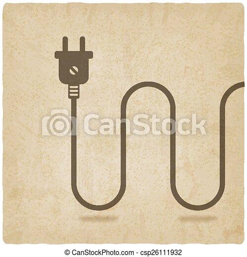Stecker, draht, altes , elektrisch, hintergrund. Stecker ...