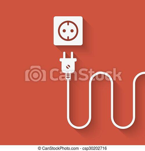 Stecker, draht, elektrischer anschluß. Stecker, outlet.,... Vektor ...