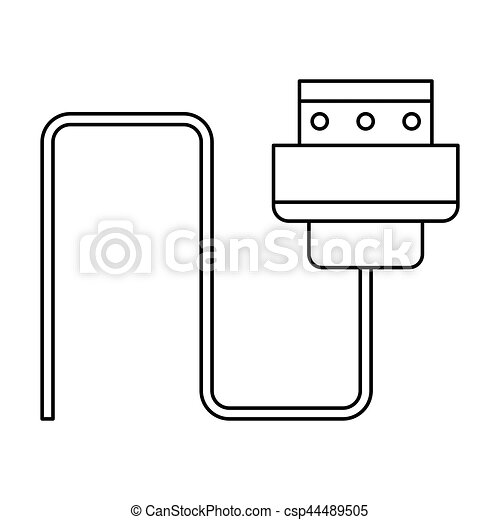 Stecker, draht, kabel, edv, dünne linie. Stecker, 10, draht ...