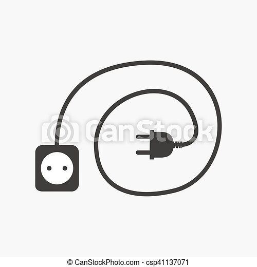 Stecker, draht, steckdose, vektor, icon., illustration. Stecker ...