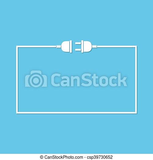 Stecker, draht, steckdose, -, vektor, illustration. Stecker, socket ...