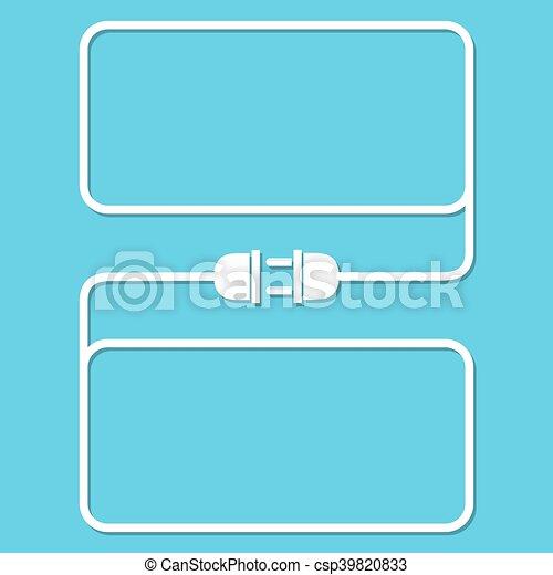 Stecker, draht, steckdose, -, vektor, illustration. Stecker ...
