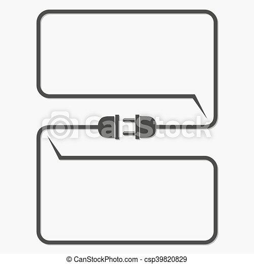Stecker, draht, steckdose, -, vektor, illustration. Stecker, wohnung ...