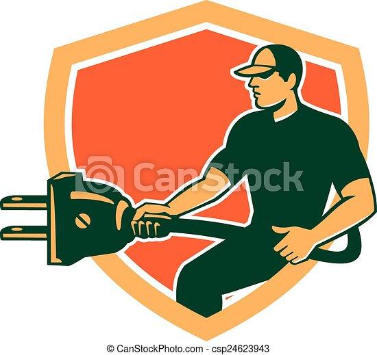Stecker, elektriker, schutzschirm, tragen, retro, elektrisch ...