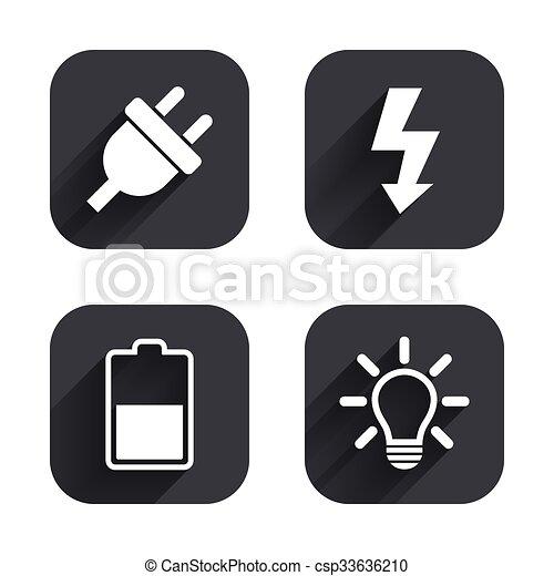 Stecker, elektrisch, batterie, licht, zeichen., lampe, half ...
