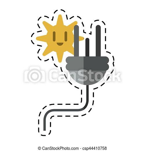 Stecker, elektrisch, kabel, energie, linie, -cut, ikone.... Clipart ...