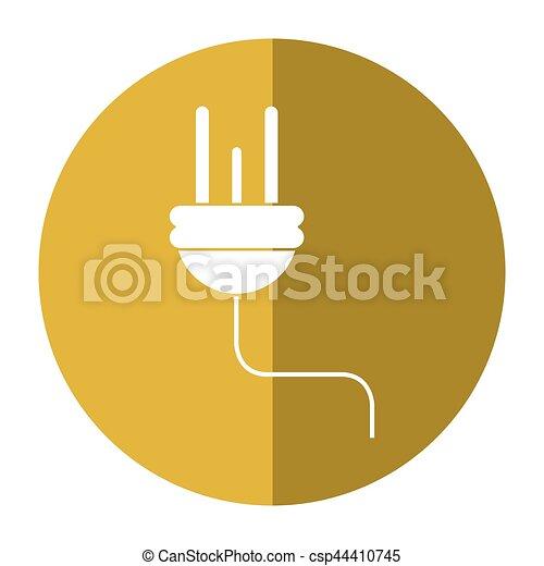 Stecker, elektrisch, kabel, energie, icon-shadow, kreis.... EPS ...