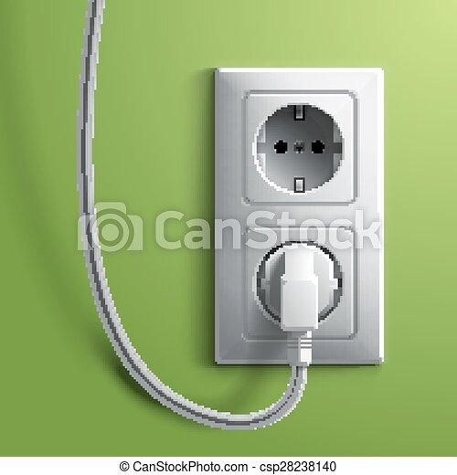 Stecker, elektrisch, wand, grüner hintergrund, weißes,... EPS Vektor ...