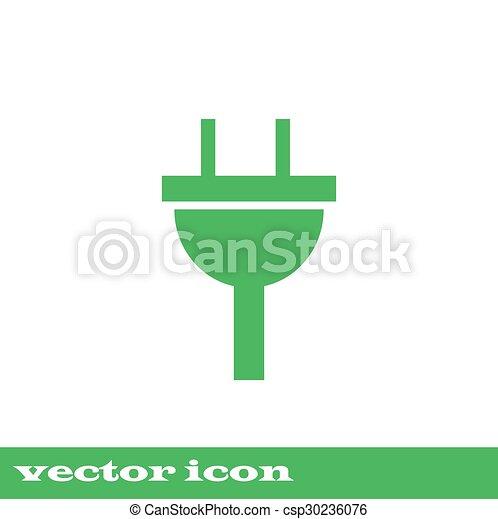Stecker, elektrizität, zeichen., grün, ikone. Stecker, elektrizität ...
