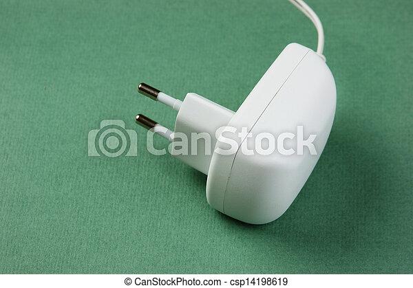 Stecker, kabel, grüner hintergrund, elektrisch, weißes ...