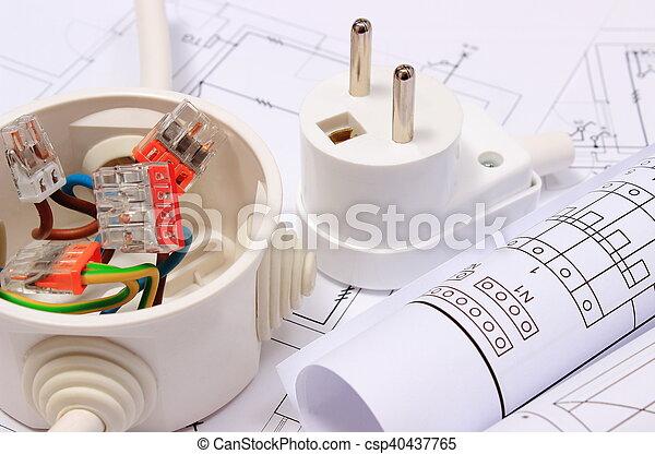 Stecker, kasten, elektrisch, baugewerbe, elektrisch, zeichnung ...